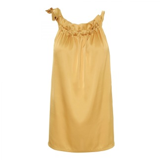 KARMAMIA Golden Yellow Ruffle Tie Top -
