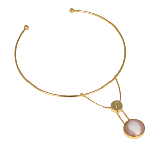 MOON NECKLACE GOLD/LIGHT PINK - MOON NECKLACE GOLD/LIGHT PINK