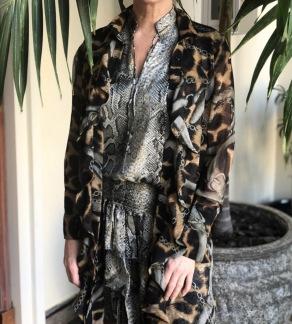 KARMAMIA Leopard Chain Ruffle Kimono - Leopard Chain Ruffle / S