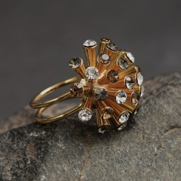 RING THE METEOR RING Guld/Amber Mix