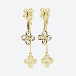 ÖRHÄNGEN THE FOUR CLOVER EARRINGS Guld/Klar