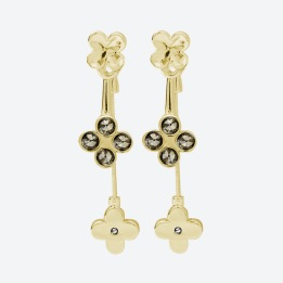 ÖRHÄNGEN THE FOUR CLOVER EARRINGS Guld/Rökfärgad
