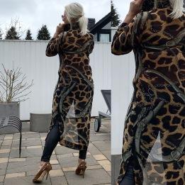 KARMAMIA Leopard Chain Ruffle Kimono