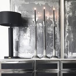 LJUSSTAKE  ESTELLE Grå/Silver H.70cm