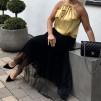 KARMAMIA Golden Yellow Ruffle Tie Top