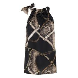 KARMAMIA Snake Chain Ruffle Tie Top