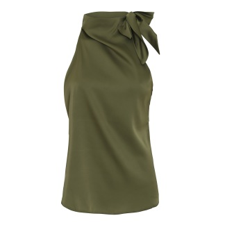 KARMAMIA Ribbon Top – Moss Green - Ribbon green S/M