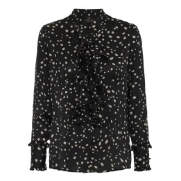 KARMAMIA Black Dot Ruffle Shirt