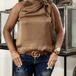 KARMAMIA Ribbon Top – Camel