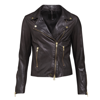 FRONTROW Bikery Jacket Dk Brown Gold - BIKERY JACKET  BROWN / 34