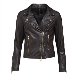 A FRONTROW Bikery Jacket Dk Brown Gold - BIKERY  BROWN / 34