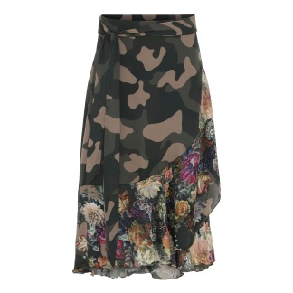 KARMAMIA Flower Camouflage Ruffle Wrap Skirt