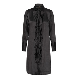 KARMAMIA Ruffle Kimono (short) – Rich Black Satin