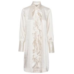 A KARMAMIA Ruffle Kimono (short) - Ivory Rich Satin