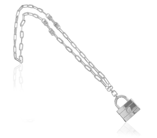 A IOAKU MASSIVE LOCK NECKLACE SILVER