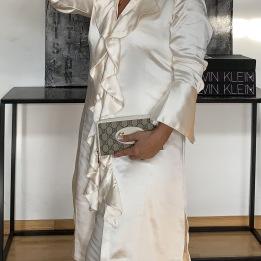 KARMAMIA Ruffle Kimono (short) - Ivory Rich Satin
