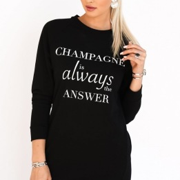 BLOND HOUR - CHAMPAGNE SWEATSHIRT DRESS BLACK