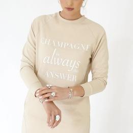 BLOND HOUR CHAMPAGNE SWEATSHIRT DRESS - BEIGE