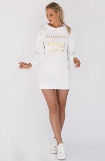 BLOND HOUR - CHAMPAGNE SWEATSHIRT HOODIE DRESS WHITE