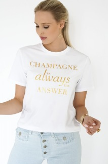 BLOND HOUR - CHAMPAGNE T-SHIRT - WHITE/GOLD