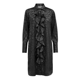 A KARMAMIA Ruffle Kimono (short) - Black Leo Jacquard