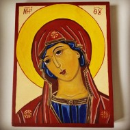 Freja`s 100% authentic Icon, in all respects, approved by an Iconologist for church paintings, created 100% genuine technique, with motif of Mother Maria