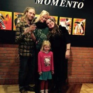 Freja and the family who bought six of Freja`s works of art at the premiere of Freja`s solo exhibition MOMENTO in Sweden
