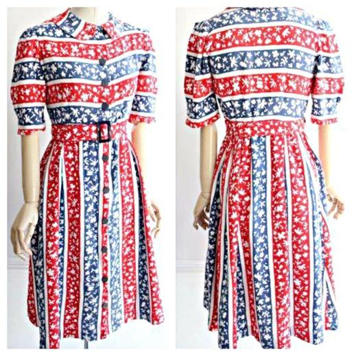 0a7a8119d497 En fantastiskt fin skjortklänning från 40-talet. Röd/vit och blårandig med  utströdda