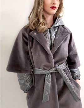 SKAU | Martio grey wool/acrylic coat -
