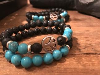 Armband peace - Armband lava och turkos 15-16 cm