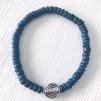 Armband kokospärlor - Armband kokospärla blå strl S