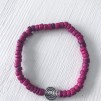 Armband kokospärlor - Armband kokospärla rosa strl S