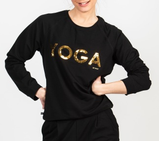 YOGA Sweater Svart Guld text - YOGA Sweater Svart strl S