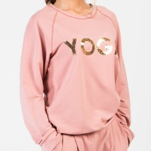YOGA Sweater Rosa Guld text