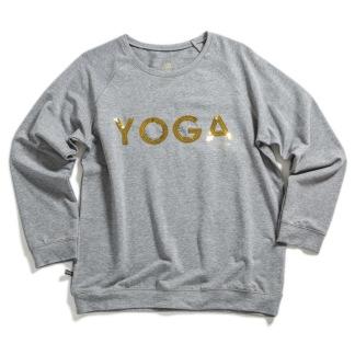 YOGA Sweater Grå Guld text - WMY_YOGA Sweater Grå strl S