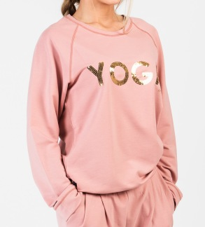 YOGA Sweater Rosa Guld text - WMY_YOGA Sweater Rosa strl S