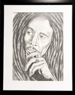 Teckning_Bob Marley - Teckning Bob Marley svart ram