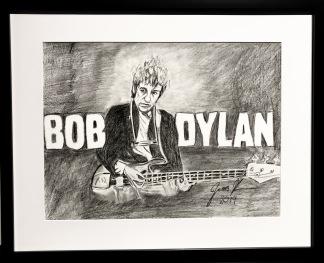 Teckning_Bob Dylan - Teckning Dylan svart ram
