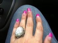 Mina nya super rosa glitter naglar