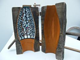 Skulptur glasblåsa/läder/spegelmosaik - Privat