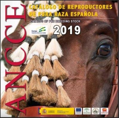"""Katalog 2019 som  presenterar  34 """"Jóvenes Reproductores Recomendados"""", 20 """"Reproductores Mejorantes"""" och 5 """"Reproductores de Élite."""""""