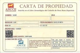 """Ägarkort - """"CARTA DE PROPIEDAD"""""""
