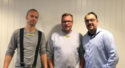 Andreas, Ulf och Jocke på Plåtcentrum i Piteå