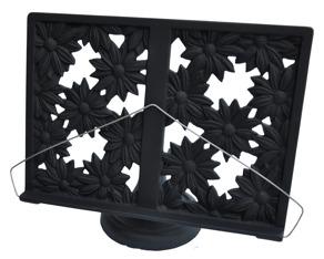 Gjutjärns bokställ BLOMMOR emaljerad svart