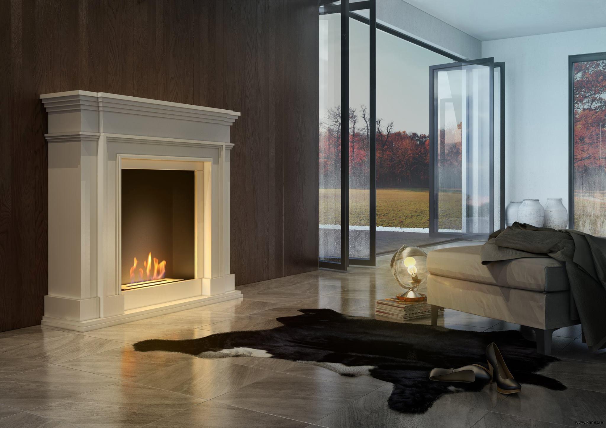 skorstensfri etanol kamin med omramning legionis vit karles butik. Black Bedroom Furniture Sets. Home Design Ideas