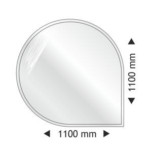 Golvglas i härdat rök/grå glas - droppe 110x110