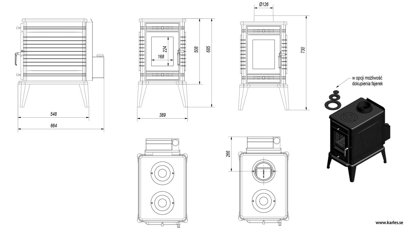 Braskamin K10 effekt 6-13 kW av gjutjärn med inbyggd fläkt och ...