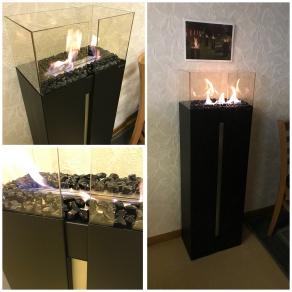 KAMPANJ: SKORSTENSFRI _ etanolkamin ROMEO svart + svarta kristaller på köpet!