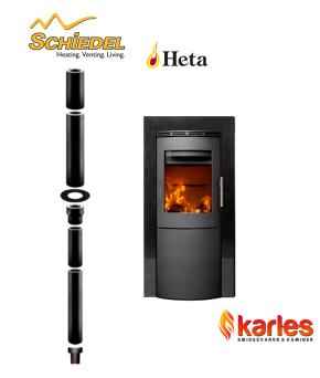 PAKETPRIS: Braskamin HETA Craft 2-8 kW _ Shanxi GRANIT + SKORSTEN SCHIEDEL 3,34m_ 150mm