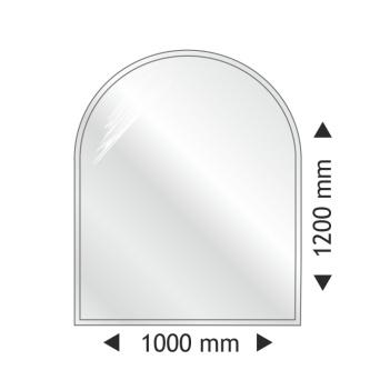 Golvglas i härdat klart glas- halvrund 1000 x 1200mm x 8mm